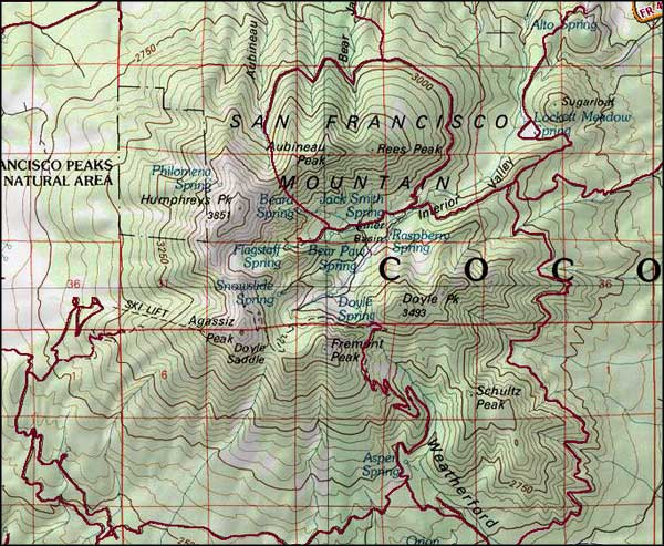 Kachina Peaks Wilderness area map