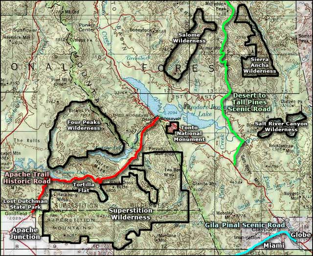 Apache Trail area map