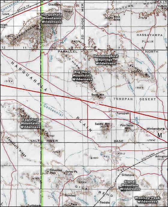 Eagletail Mountains Wilderness area map