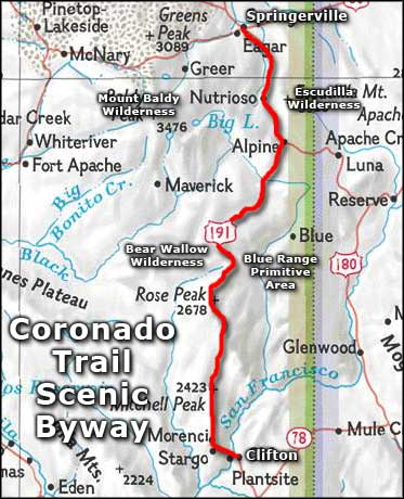 Coronado Trail Scenic Byway area map