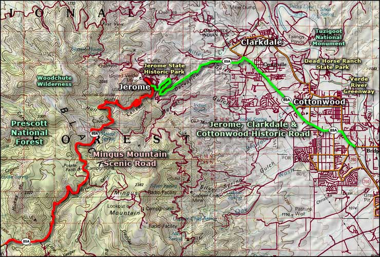 Cottonwood area map