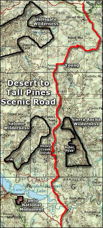 Map of the From the Desert to Tall Pines Scenic Road