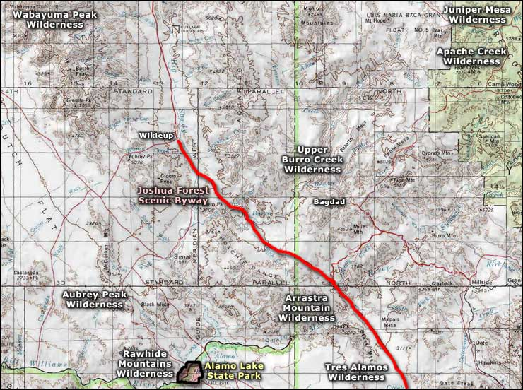 Arrastra Mountain Wilderness area map