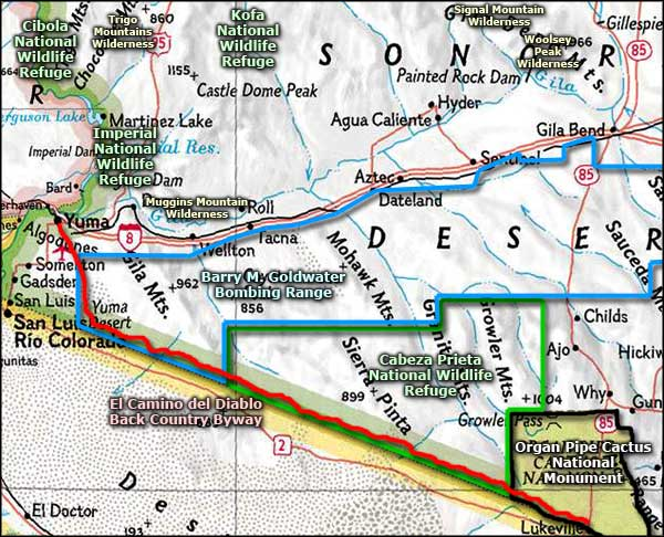 Southwest Arizona area map