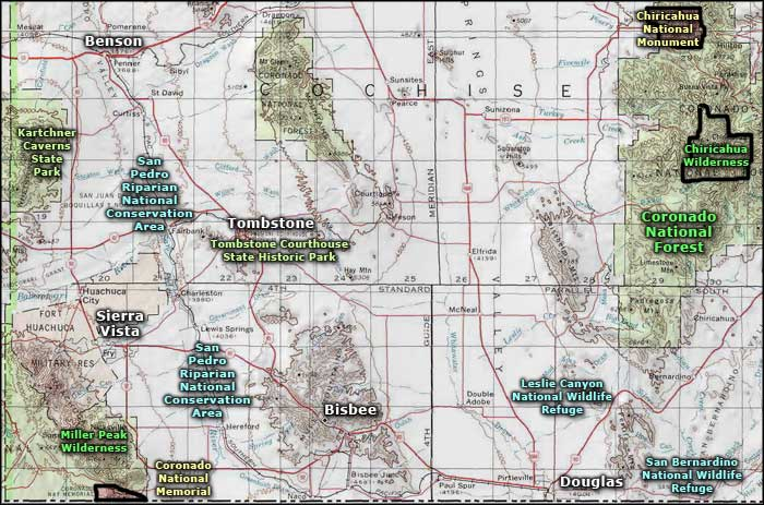 Southeast Arizona area map
