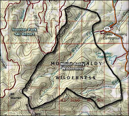 Mount Baldy Wilderness map