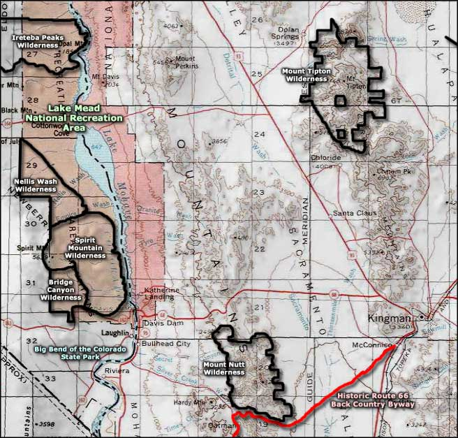 Mount Tipton Wilderness area map