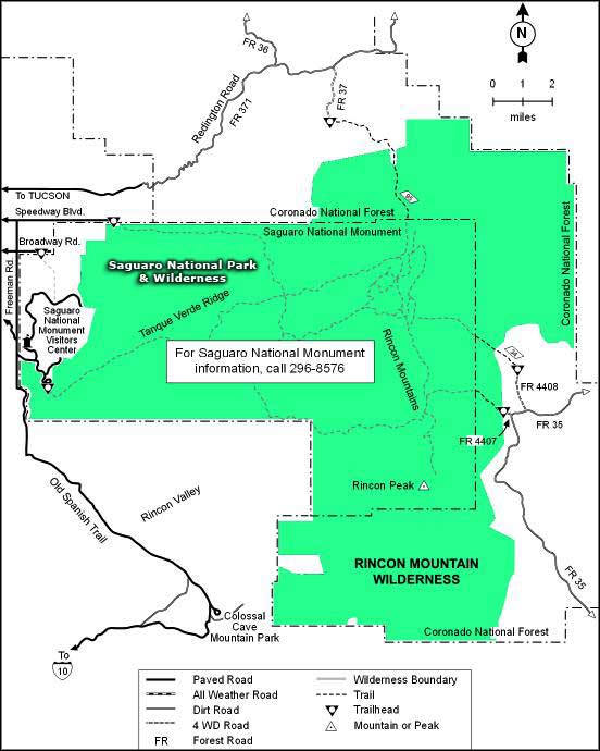 Map of Rincon Mountain Wilderness
