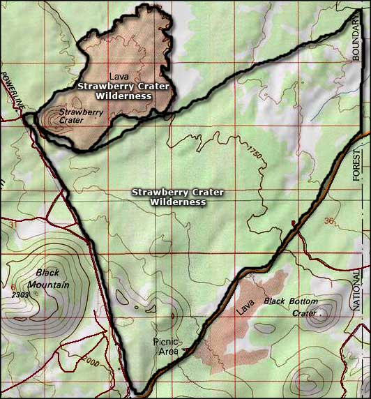Strawberry Crater Wilderness map