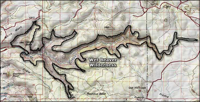 Wet Beaver Wilderness map