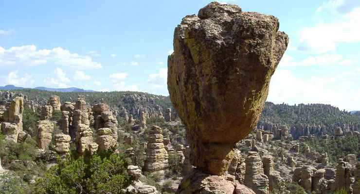 A balanced rock at Chiricahua National Monument