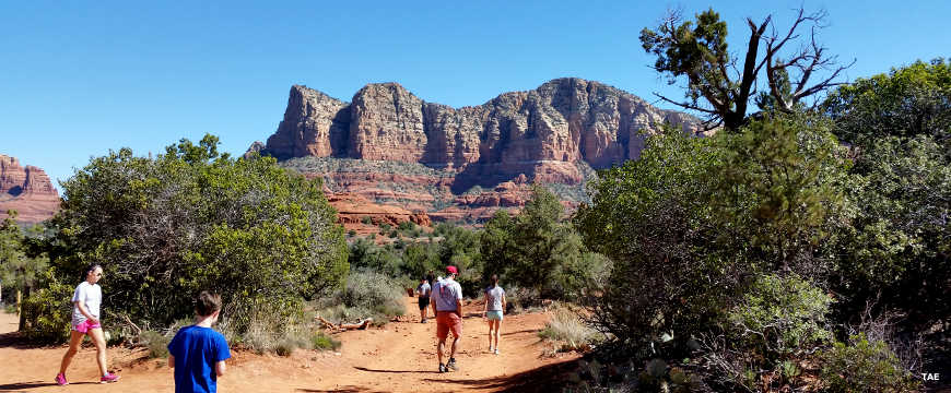 Hikers near Courthouse Butte