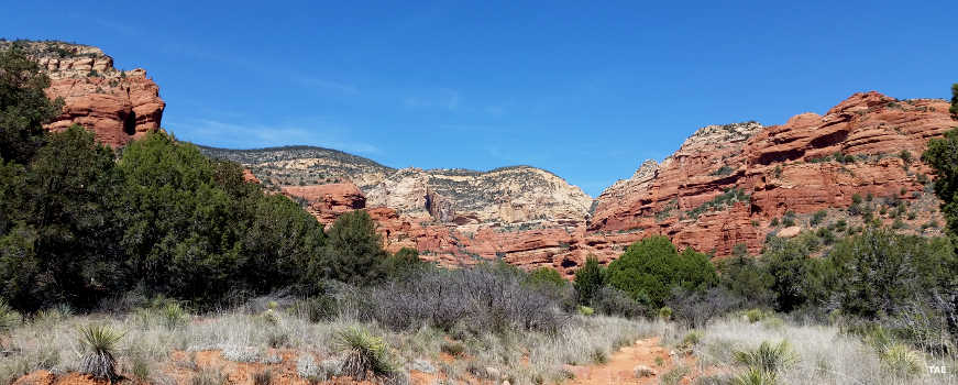 Hikers on a trail in the Red Rocks area of Coconino National Forest