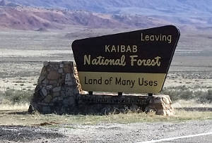 Sign indicating you are leaving Kaibab National Forest