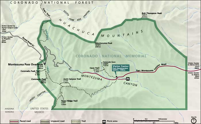 Map of Coronado National Memorial
