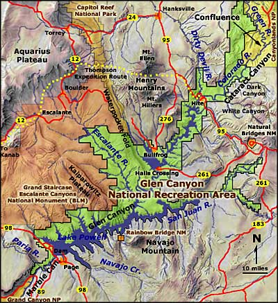 Map of Glen Canyon National Recreation Area