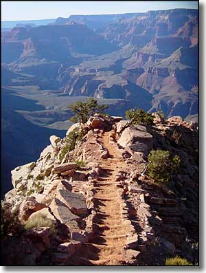 One of the trails leading into the Grand Canyon from the South Rim
