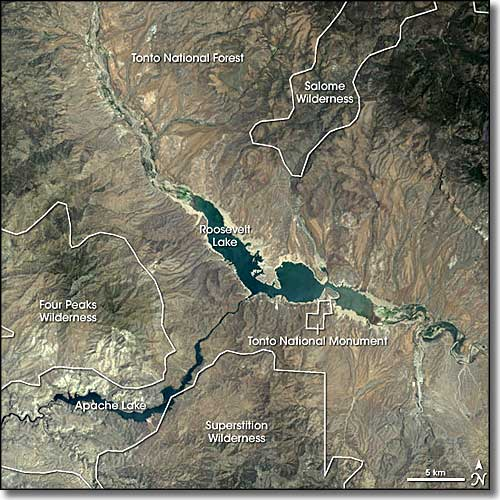 A view of Tonto National Monument from space