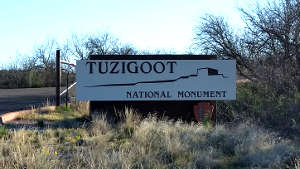The entry sign at Tuzigoot National Monument