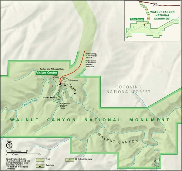 Map of Walnut Canyon National Monument