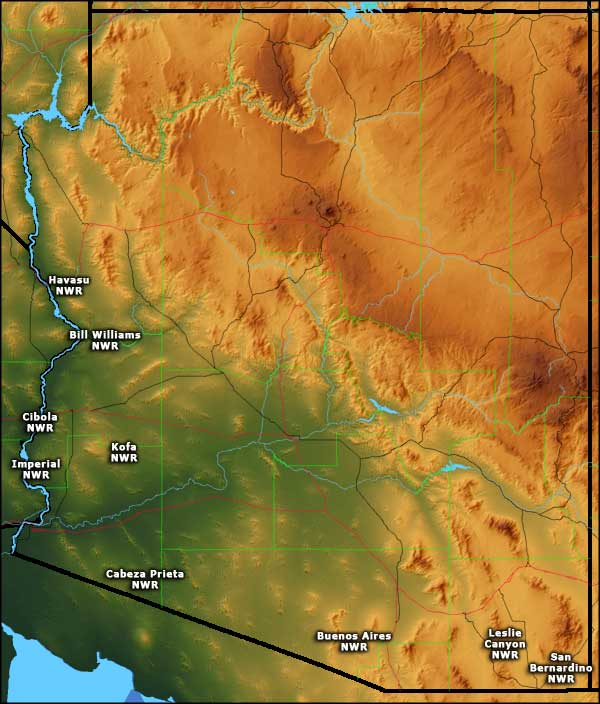 Locations of the National Wildlife Refuges in Arizona