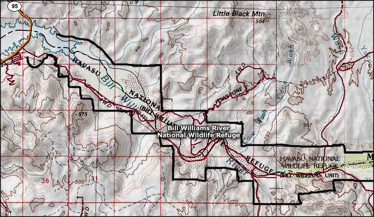 Map of the Bill Williams River National Wildlife Refuge