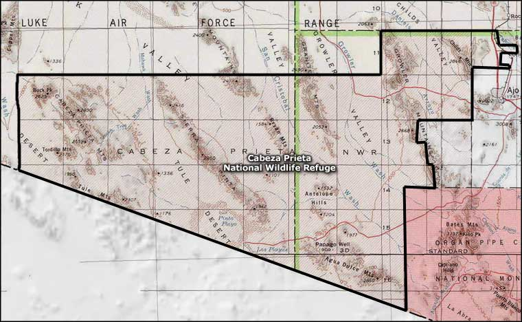 Map of Cabeza Prieta National Wildlife Refuge, Arizona