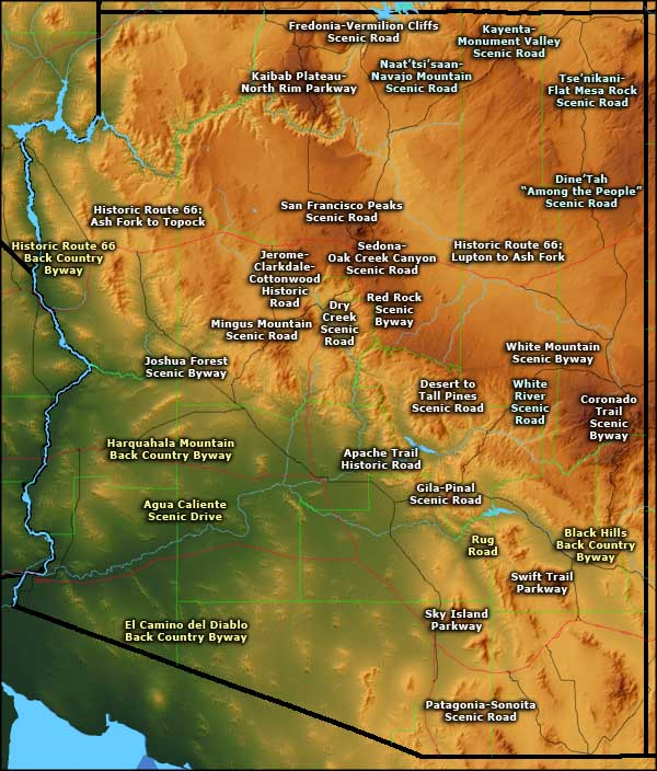 Map of Arizona Scenic Byways