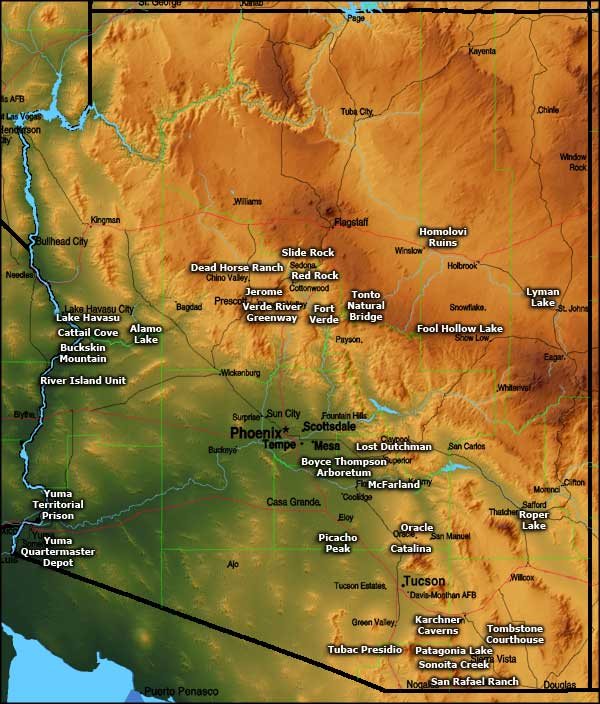 Arizona State Parks Map