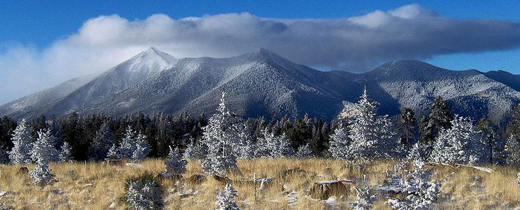 A winter view of the Kachina Peaks