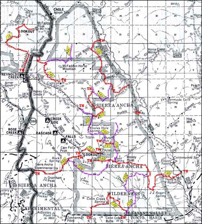Trail map of Sierra Ancha Wilderness