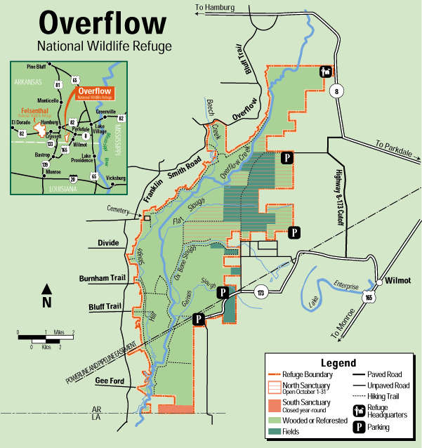 Map of Overflow National Wildlife Refuge