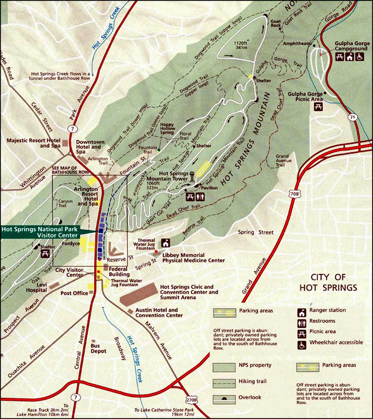 Map of Hot Springs National Park