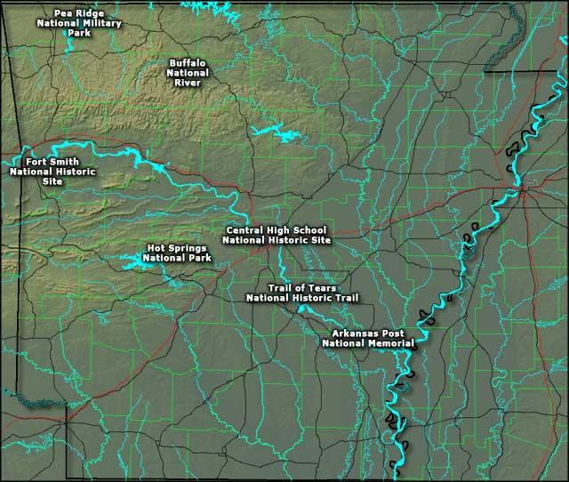 Locations of the National Park Service Sites in Arkansas
