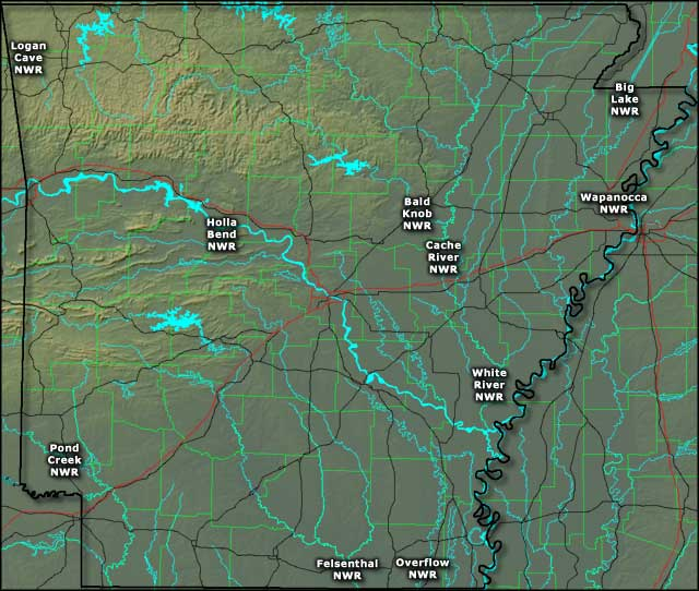 Locations of the National Wildlife Refuges in Arkansas
