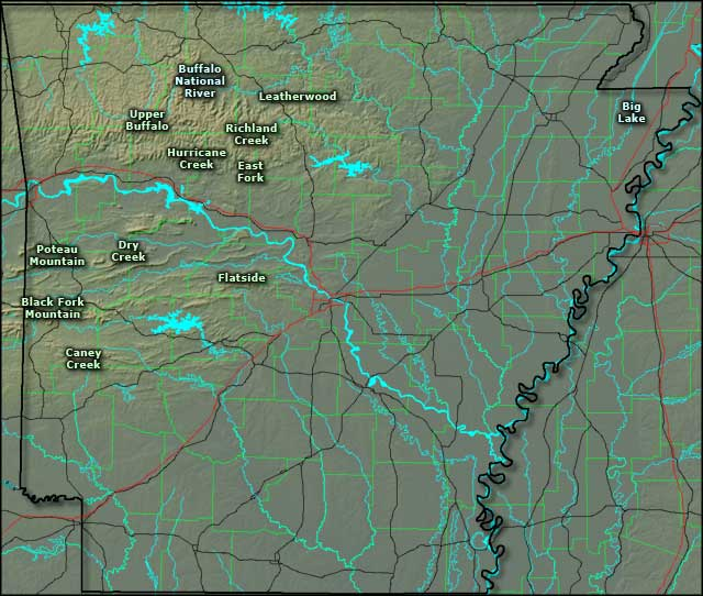 Locations of the National Wilderness Areas in Arkansas