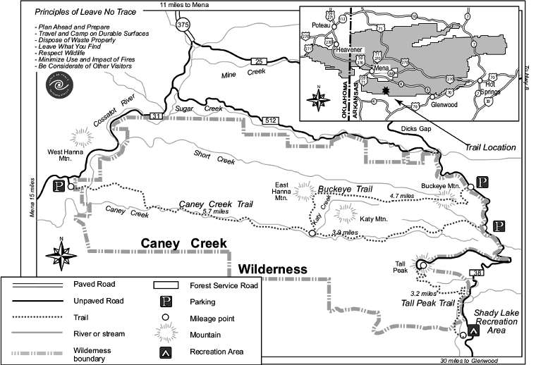 Map of the Caney Creek Wilderness area