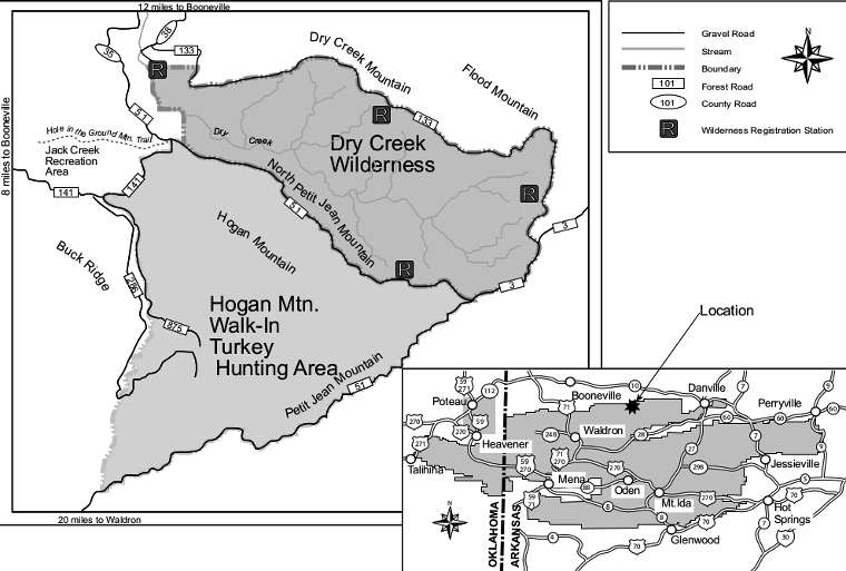 Map of the Dry Creek Wilderness area
