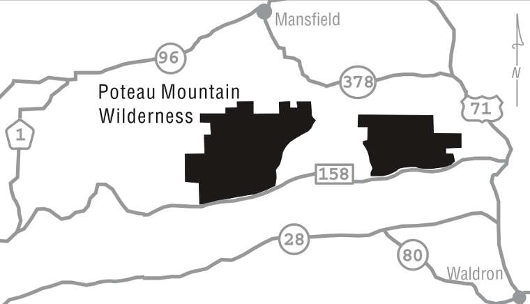 Map of the Poteau Mountain Wilderness area
