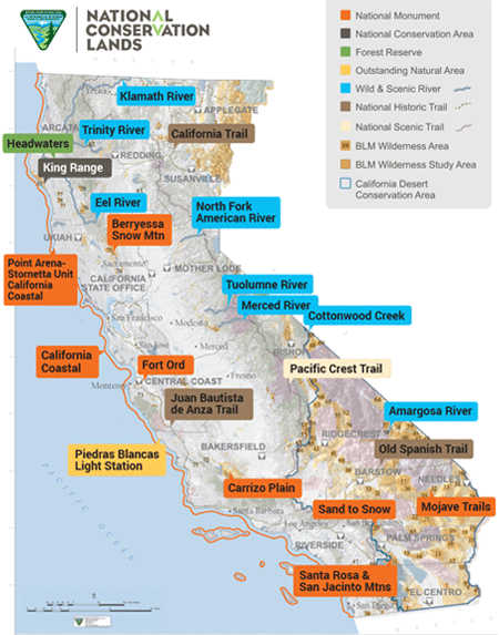 Map of the BLM conservation areas in California