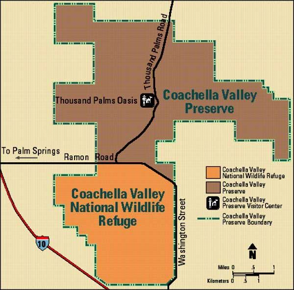 Map of Coachella Valley National Wildlife Refuge