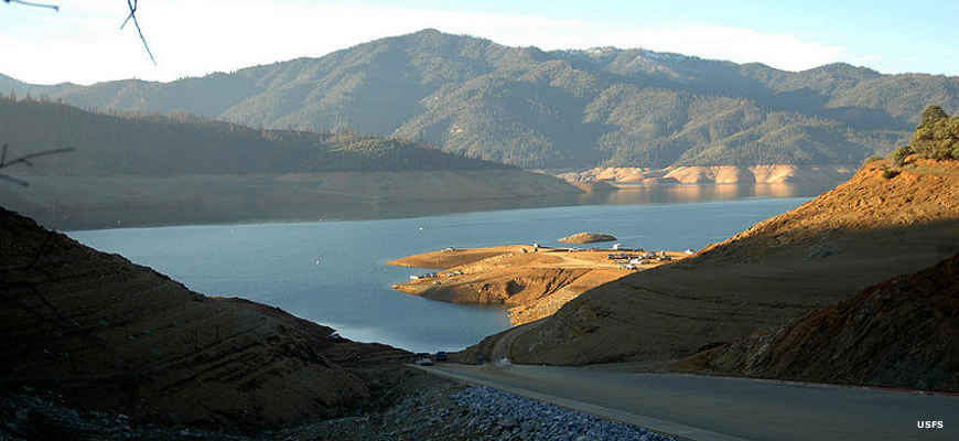 View of a boat ramp area on Lake Shasta
