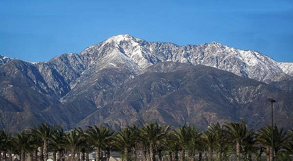 A view of Cucamonga Peak from Victoria Gardens