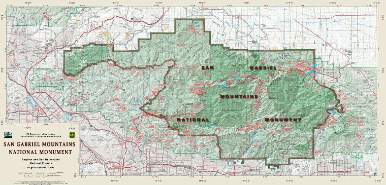 Map of the San Gabriel Mountains National Monument area