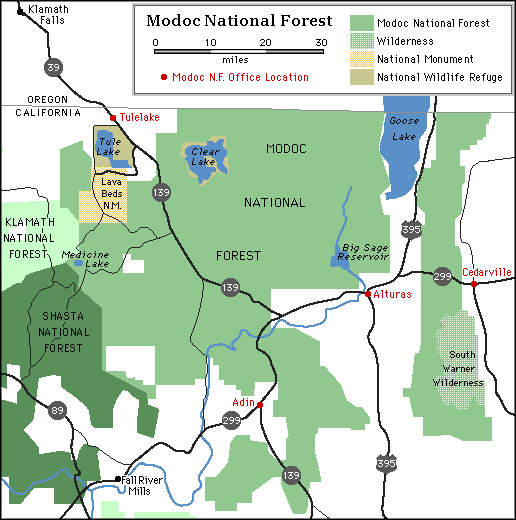Map of Modoc National Forest