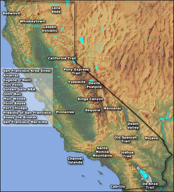 National Park Service sites in California