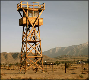 Reconstructed sentry tower at Manzanar National Historic Site