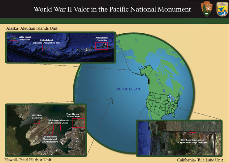 Map showing locations of the units of the World War II Valor in the Pacific National Monument
