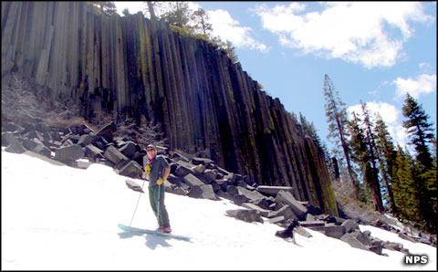 A late season skier at Devils Postpile National Monument
