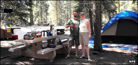 Campers at Lassen Volcanic National Park